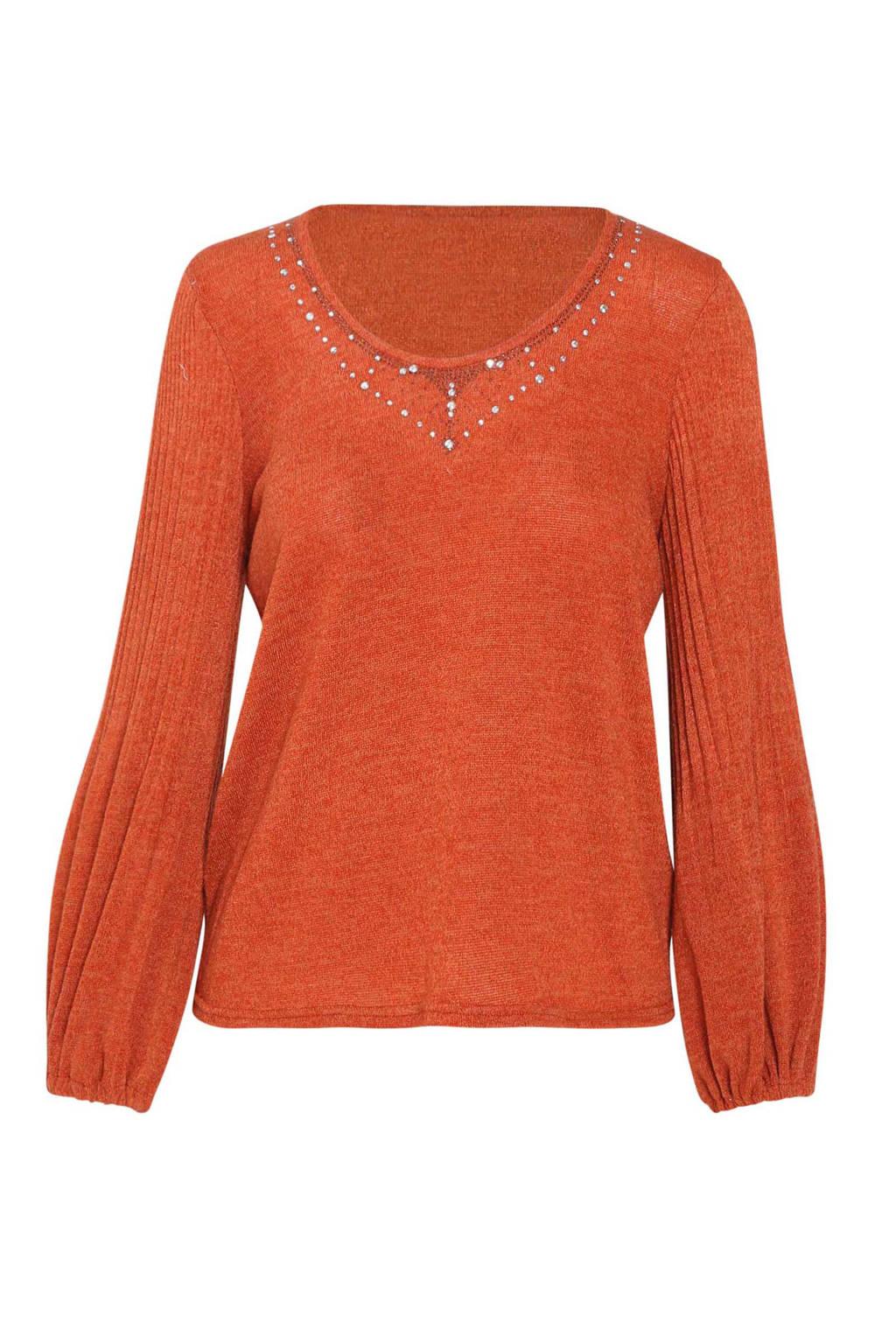 Cassis trui met glitters oranje, Oranje