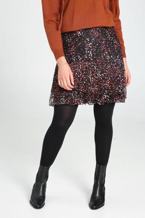 rok met all over print en volant zwart/rood