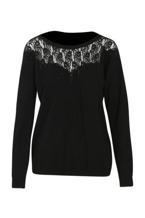 fijngebreide trui met kant zwart