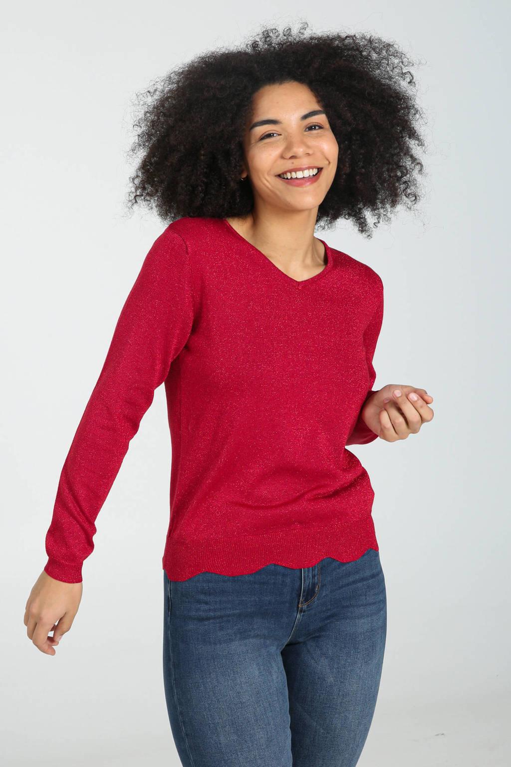 Cassis fijngebreide trui met glitters rood, Rood
