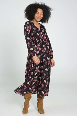 gebloemde semi-transparante maxi jurk zwart/rood/lichtroze