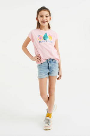 T-shirt met printopdruk en pailletten roze
