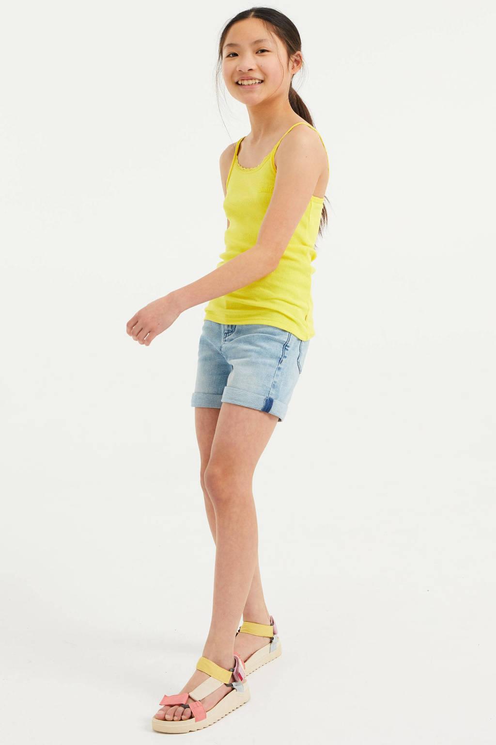 WE Fashion singlet met borduursels geel, Geel