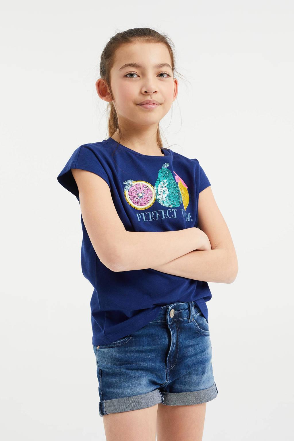WE Fashion T-shirt met printopdruk en pailletten blauw/geel/groen, Blauw/geel/groen