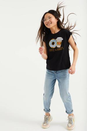 T-shirt met printopdruk en pailletten zwart/blauw/goud