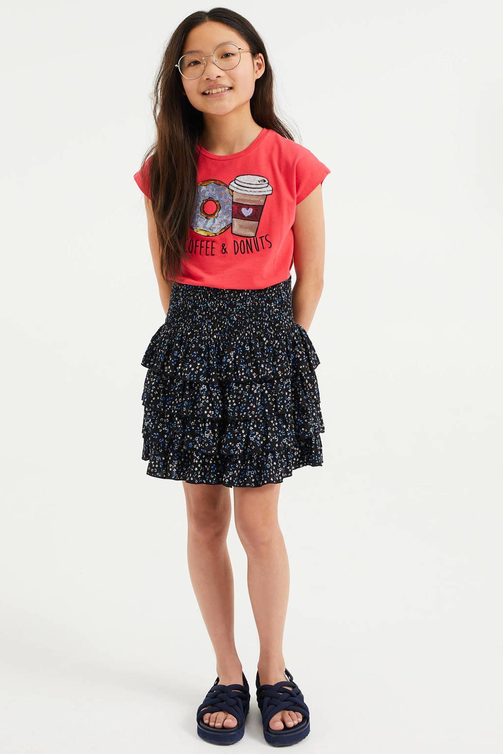 WE Fashion T-shirt met printopdruk en pailletten roze/goud/zwart