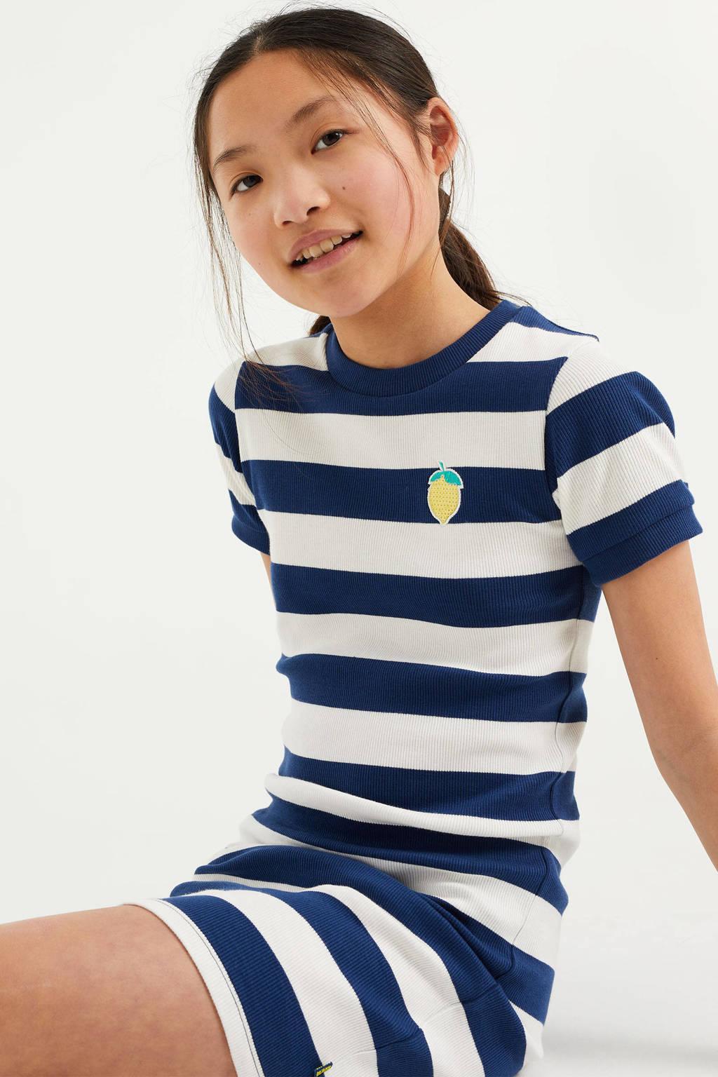 WE Fashion gestreepte maxi jurk blauw/wit, Blauw/wit