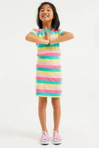WE Fashion gestreepte maxi jurk roze/geel/groen, Roze/geel/groen