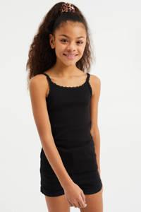 WE Fashion singlet met borduursels wit/zwart, Wit/zwart