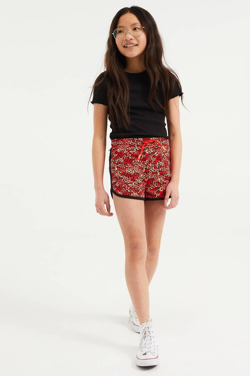 WE Fashion straight fit short met panterprint roze/zwart, Roze/zwart