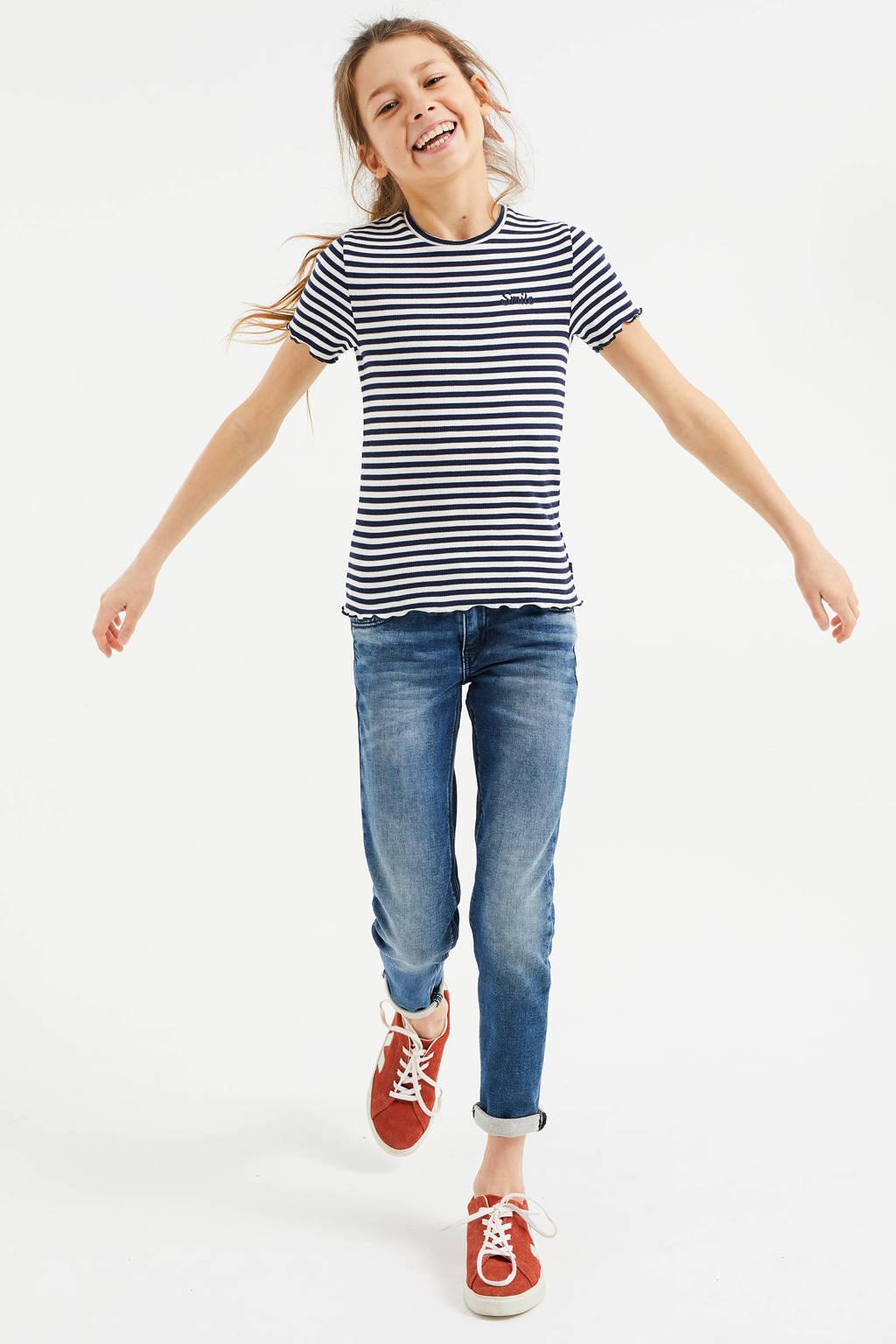 WE Fashion T-shirt - set van 2 donkerblauw/wit, Donkerblauw/wit