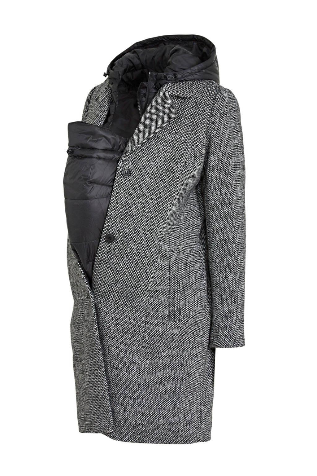 C&A Yessica gemêleerde zwangerschapsjas coat winter zwart melée - draagjas, Zwart melée