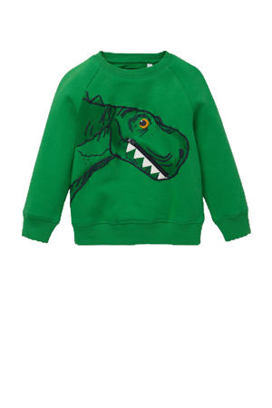 sweater met printopdruk en 3D applicatie groen/zwart/wit