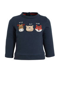C&A Baby Club kerstsweater met printopdruk donkerblauw, Donkerblauw