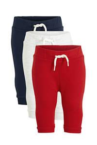 C&A Baby Club joggingbroek - set van 3 rood/ecru/donkerblauw, Rood/ecru/donkerblauw
