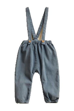 microcorduroy baby broek met schouderbanden middenblauw