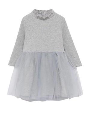 A-lijn jurk met ruches pastelgrijs