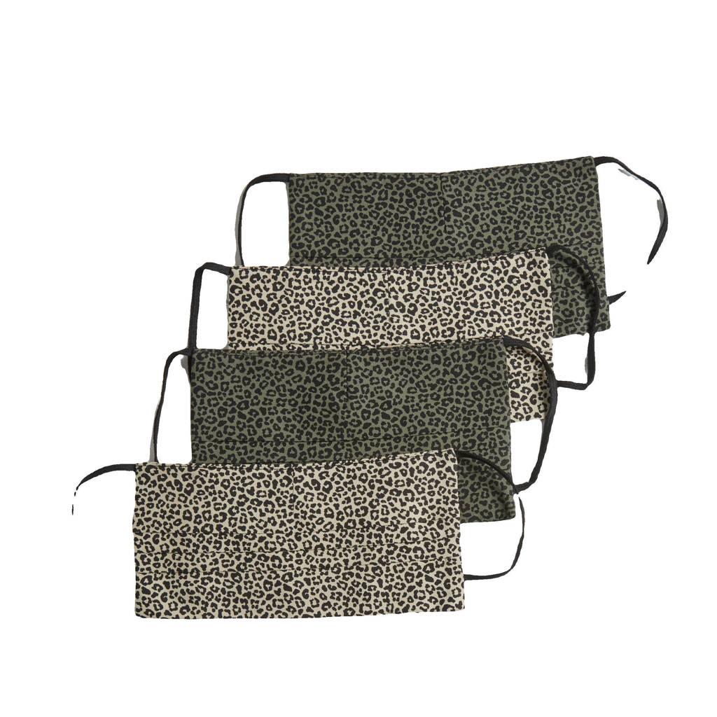 anytime panterprint mondkapje - set van 4 beige/groen, Beige/groen
