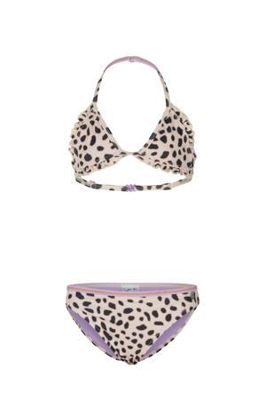 triangel bikini Fiesta Leopard met ruches ecru/zwart