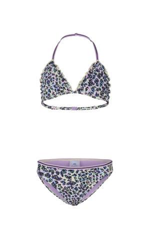 triangel bikini Fiesta Fantasy met panterprint en ruches paars/zwart
