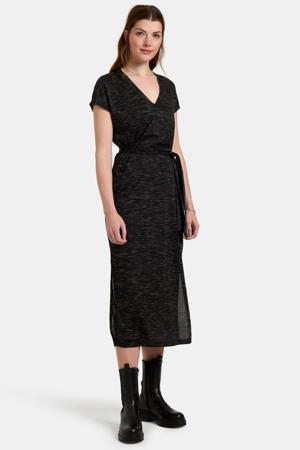 gemêleerde maxi jurk Anna zwart