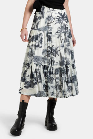 maxi rok Mesh met all over print wit/grijs