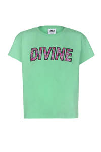 Jill & Mitch by Shoeby oversized fit T-shirt Lime met tekst en sierstenen groen, Groen