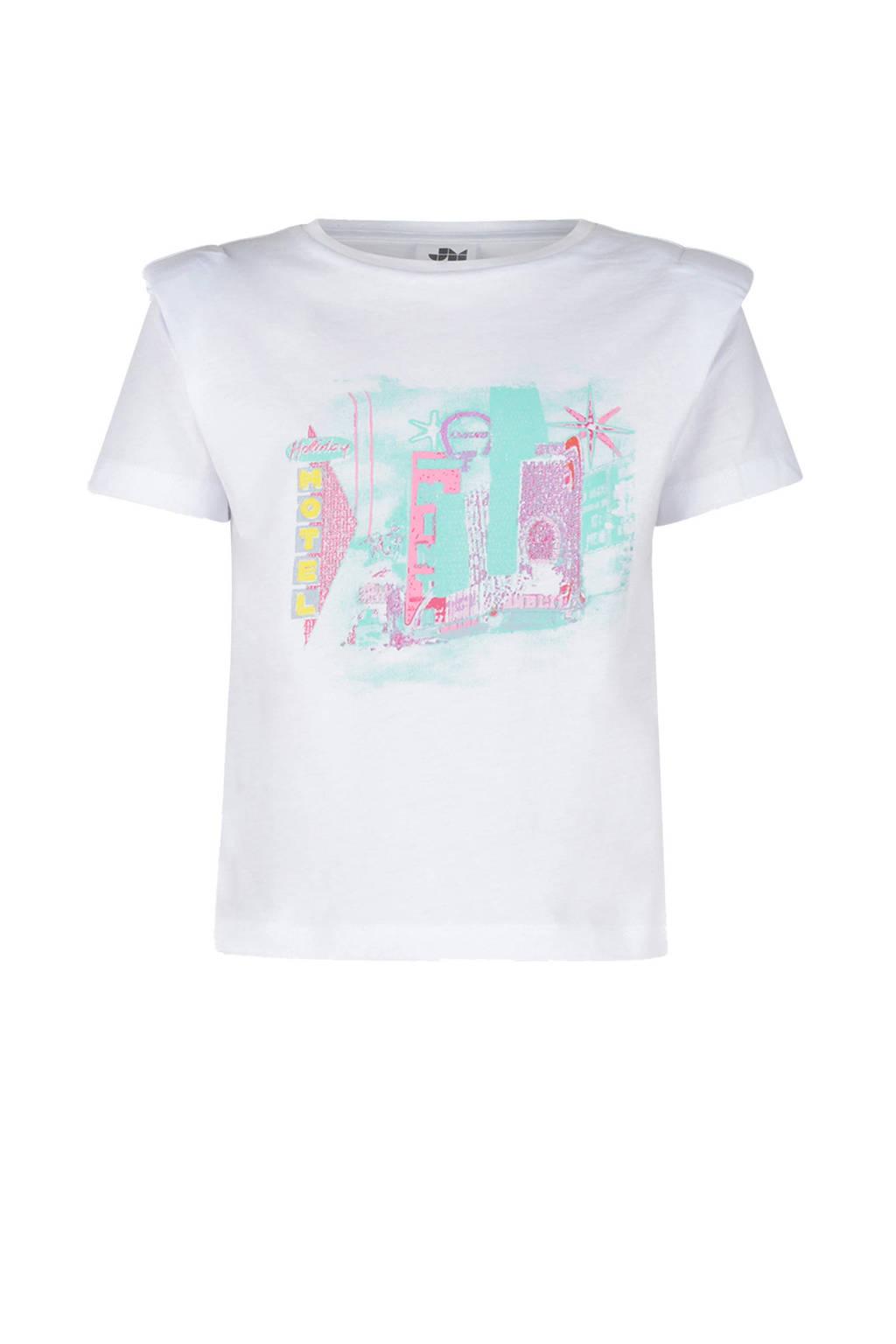 Jill & Mitch by Shoeby T-shirt Franny met printopdruk en schoudervullingen wit/groen/roze, Wit/groen/roze