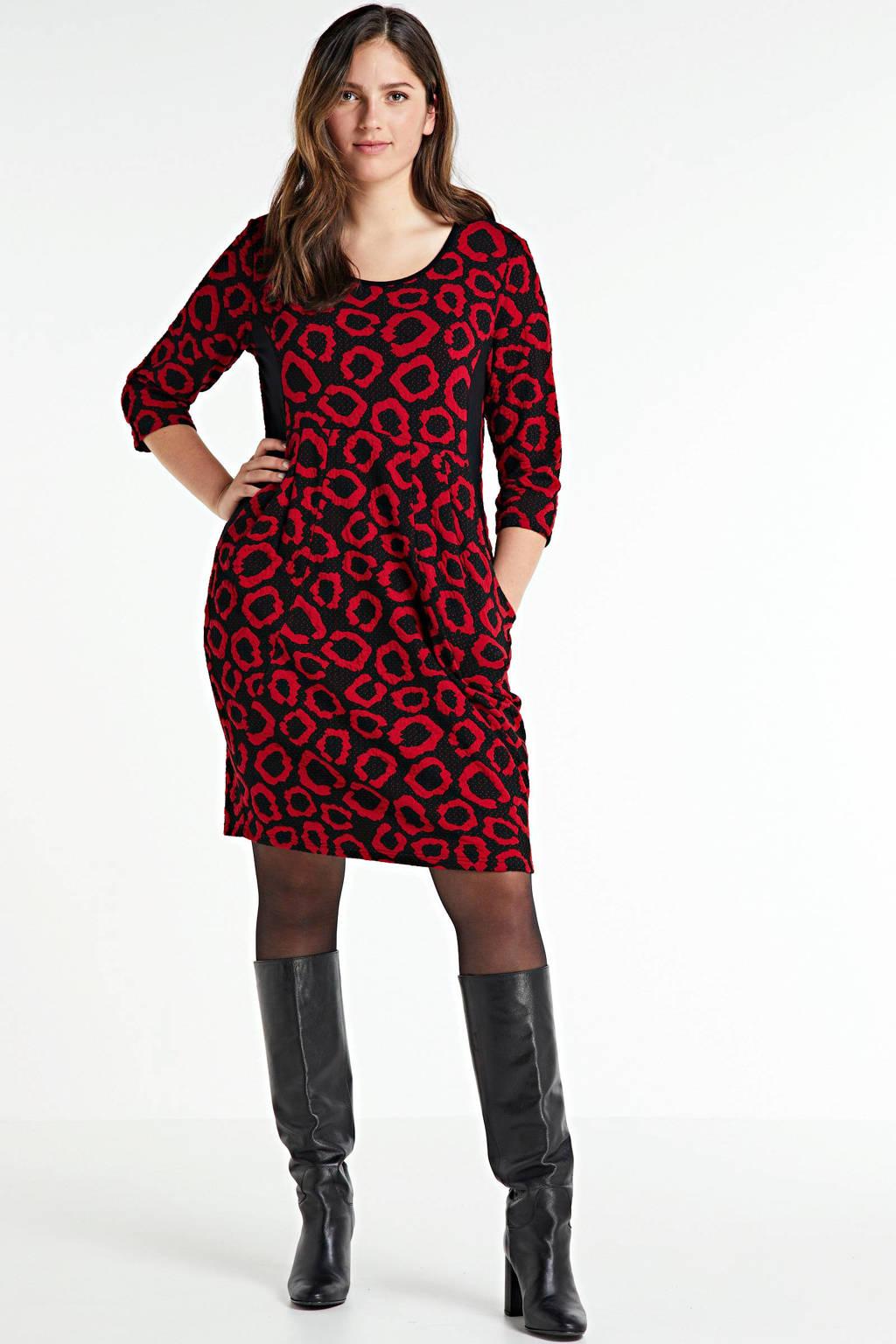 PONT NEUF jurk Bianco met plooien zwart/rood, Zwart/rood