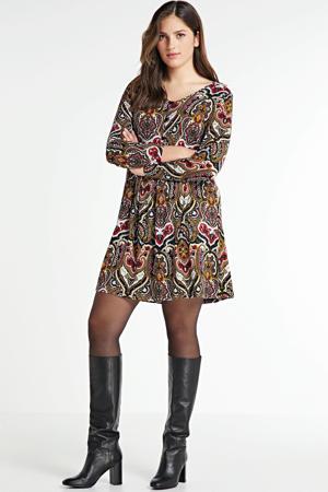 jurk Gredal met plooien kaki/rood/wit