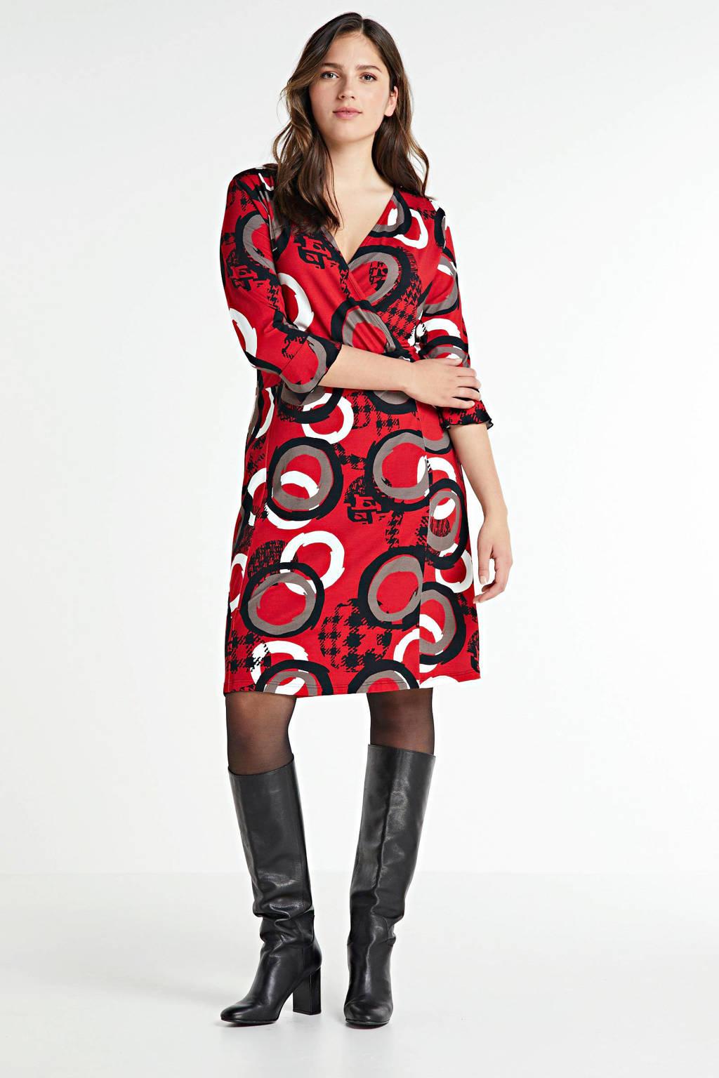 PONT NEUF overslagjurk Jana met all over print en volant rood/bruin/zwart, Rood/bruin/zwart