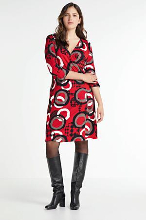 overslagjurk Jana met all over print en volant rood/bruin/zwart