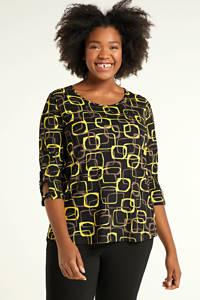 PONT NEUF top Melly met all over print zwart/geel/bruin, Zwart/geel/bruin