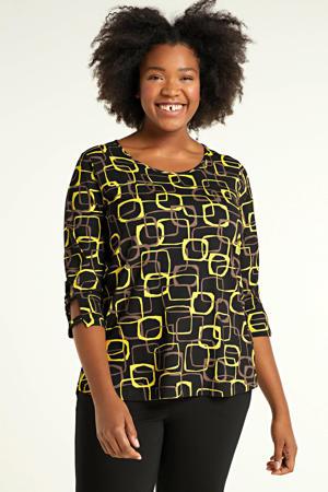 top Melly met all over print zwart/geel/bruin