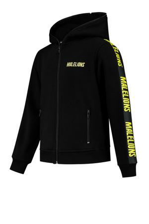 hoodie met logo zwart/neon geel
