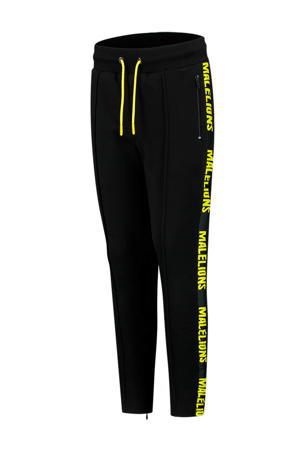 unisex skinny joggingbroek met logo zwart/neon geel