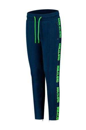 skinny joggingbroek met logo blauw/felgroen