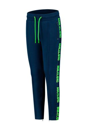 unisex skinny joggingbroek met logo blauw/felgroen