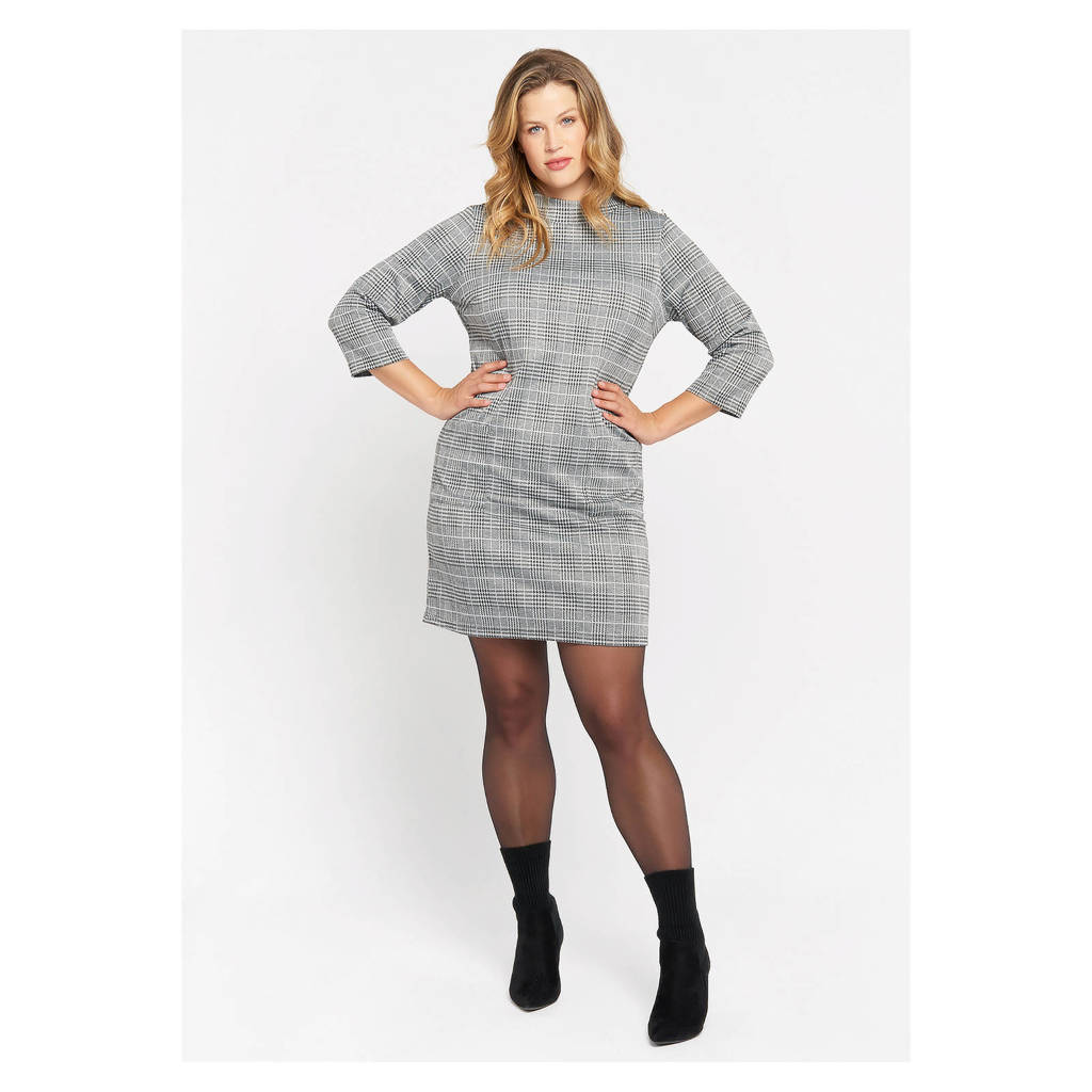 LOLALIZA geruite jurk grey mid mel, GREY MID MEL