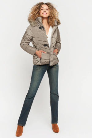 gewatteerde jas grey taupe
