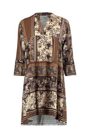 jurk met all over print bruin/beige/ecru