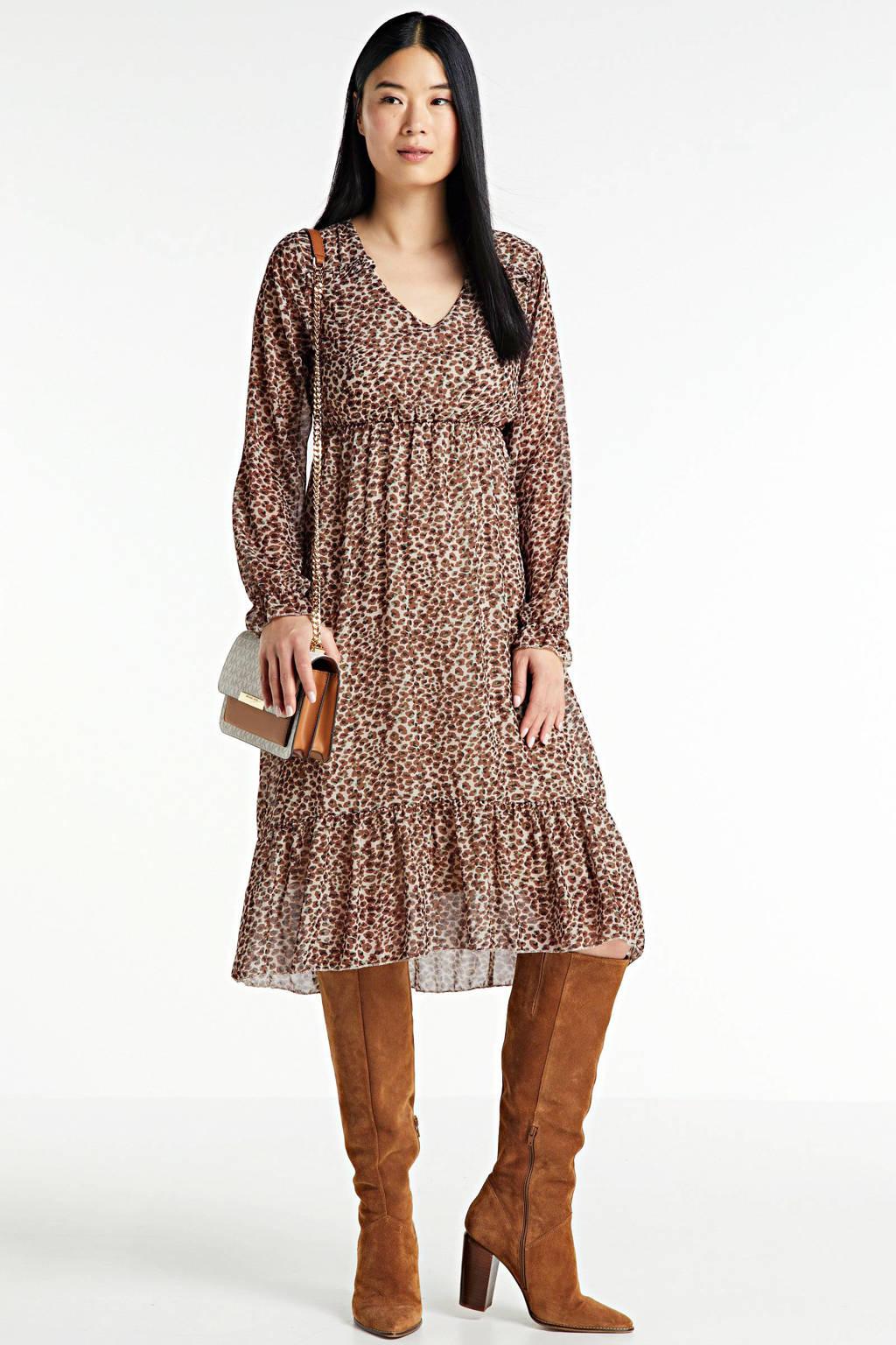Hailys jurk Olivia met all over print beige, Beige/bruin