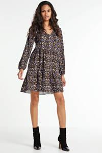 Hailys blousejurk Vita met all over print zwart/paars/geel, Zwart/paars/geel