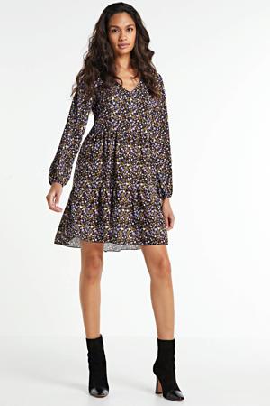 blousejurk Vita met all over print zwart/paars/geel