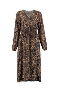 Hailys maxi blousejurk Camille met all over print bruin/zwart, Bruin/zwart