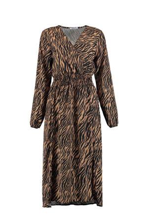 maxi blousejurk Camille met all over print bruin/zwart