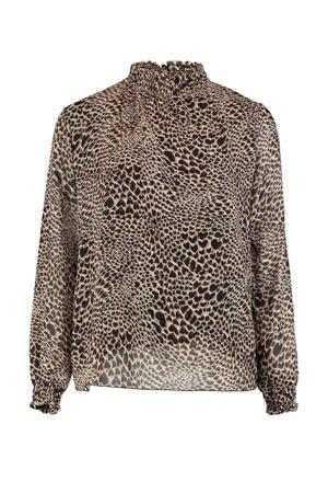 blouse Lini met all over print bruin