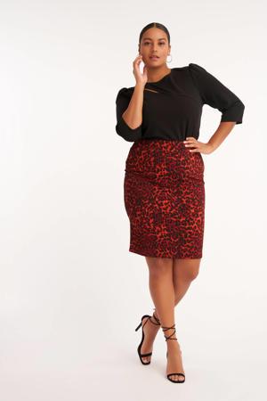rok met panterprint rood/zwart