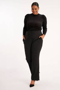 MS Mode high waist loose fit pantalon zwart, Zwart