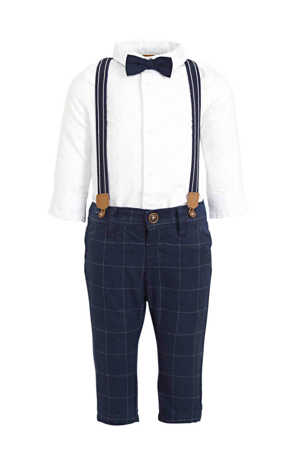 C&A Baby Club baby overhemd met broek + bretels + strik, Donkerblauw/wit